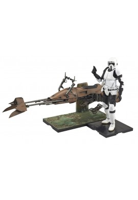 Bandai Star Wars Scout Trooper & Speeder Bike 1/12 Scale Plastic Model Kit