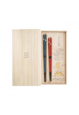 HYOZAEMON Chopsticks SET Moon and Happy Usagi Rabbit
